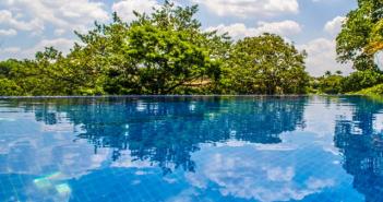 vista da piscina com árvores no fundo