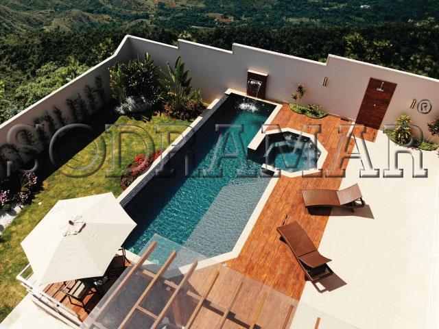 piscina com área de lazer